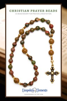 Anglican Rosary for prayer and meditation by Unspoken Elements. Handmade in the USA of genuine Unakite & Jasper gemstones with a Byzantine style cross. Makes a wonderful gift for baptism, confirmation, recovery or healing. Drawstring Pouch, Jasper Gemstone, Religious Jewelry, Prayer Beads, Thoughtful Gifts, Special Gifts, Prayers, Beaded Necklace, Jewelry Making