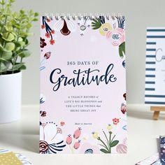 Yearly Gratitude Journal, Blush Floral