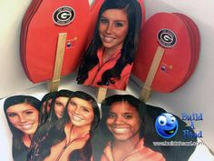 The Georgia Bulldogs Gymnastic's team celebrated at their banquet with a ton of face cutouts from BuildAHead.com. Great idea!