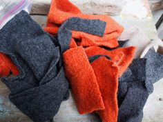 Felted wool scraps burnt pumpkin and dark gray with by ShadyWoods