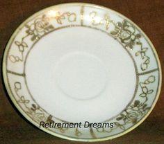 Vtg White rose Gold Trim Saucer Plate #Unknown