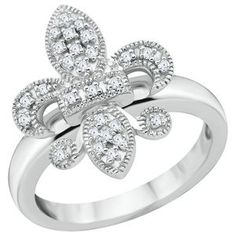 Sterling Silver 1/10ct TW Round Diamond Fleur di Lis Ring