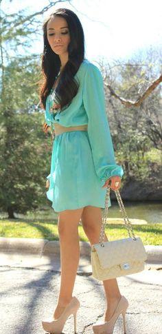 bestidos con acesorios | Cómo combinar un vestido verde menta: color tendencia de temporada ...