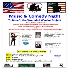 A Wounded Warrior Benefit – Music and Comedy Night September 13 @ 7:30 pm - 11:00 pm | $25