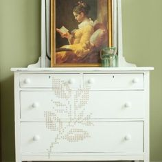 Who said that cross stitch is for fabric? Dear Emmeline brought the classic design to this beautiful dresser. Old Dresser Makeovers, Old Dressers, Furniture Makeover, Diy Furniture, Dresser Ideas, Diy Easy Embroidery, Best Dresser, Diy Projects Cans, Home Improvement Projects