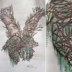 【kristophenoel】さんのInstagramをピンしています。 《#archive Dessin de 2008, couleur 2016 / #drawing by @kristophenoel @studiohanslucas  #paris #japan #main #hand #nature #kami #tree #神 #森 #手 #sketch #aquarelle #rotring @sennelier1887 #mythology #ink on #paper》