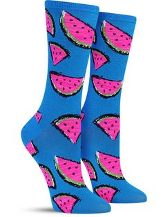 Picnics and field trips and school lunches, oh my! These colorful watermelon slices bring back enough memories to take you back to your childhood. No need to live in the past when these awesome socks