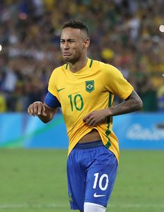 Neymar of Brazil reacts when Brazil win the penalty shoot out during Brazil…