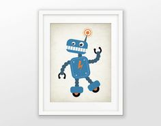 Cute Robot Nursery Print  Children's Robot Art  Baby Boy
