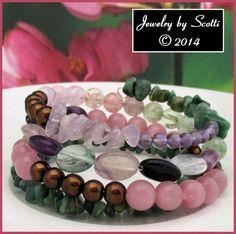 "Gemstone Coil Bracelet Amethyst Fluorite Quartz African ""Jade"" Catseye Beads #handmade #gifts"