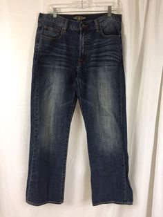 Lucky Brand Relaxed Straight 181 Mens Blue Vintage Wash Denim Jeans 34 x 30 #LuckyBrand #ClassicStraightLeg