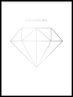 Elegant silver poster with a diamond in silver foil. A trendy and stylish print and it will definitely give your home a sense of luxury. For a even more luxurious style, match with our other gold and silver posters and prints. Desenio.co.uk