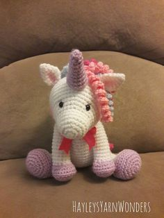 Amigurumi Crochet Unicorn Pattern - Peachy Rose the Unicorn - Stuffed Doll - Plush Crochet Unicorn Pattern Free, Crochet Horse, Crochet Animals, Free Pattern, Crochet For Kids, Crochet Baby, Crochet Crafts, Crochet Projects, Amigurumi Patterns