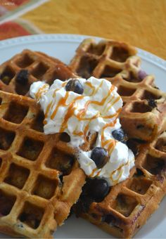 Blueberry Muffin Waffles with Salted Caramel - Easy Recipe and Gluten-Free!