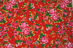 Red Oriental floral fabric / Red Chinese floral by TheFabricHippie, $14.00