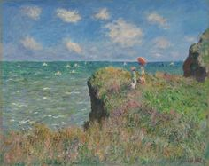 love the colors in this piece Cliff Walk at Pourville by Claude Monet 1882