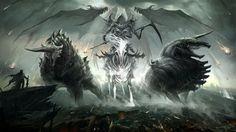 Apocalypse Armageddon Beasts Death Demons Fantasy Art Grim Reaper Horns Horsemen Of Horses Meteorites Reapers Skeletons Swords Upscaled Warriors Wings Wallpaper