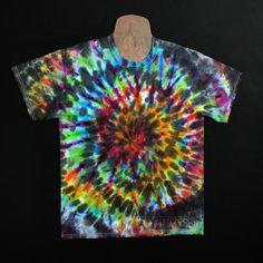 2975f3d73 Size Large Tie Dye Shirt • Black Rainbow Ice Dye Spiral T-Shirt – Detroit