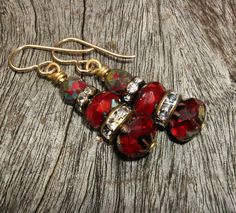 Beautiful Red Glass Earrings just in time for the holidays!... by BonArtsStudio