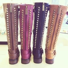 Very popular studded riding boots by Breckelles footwear. Moto Boots, Riding Boots, Cute Shoes, Me Too Shoes, Bootie Boots, Shoe Boots, Tall Boots, High Boots, Studded Boots