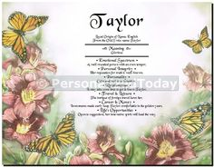 Monarch Butterflies and Flowers First Name Origin Certificate History Document Keepsake Art Print Wall Decor Personalized Customized With Your Unique Name
