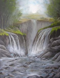 Title Misty Gorge Artist Affordable Art Halsey Medium Painting - Oil On Canvas Waterfall Paintings, Halsey, Fantastic Art, Affordable Art, Fine Art America, Oil On Canvas, Anime Art, Landscapes, Stone