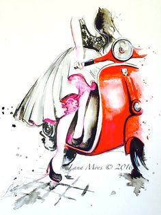 Vespa Girl Fashion Watercolor Art Print from Original Painting - Contemporary Wall Art - Fashion Illustration by Lana Moes - Wanderlust