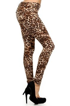 Infuse your outfit with animal magnetism and expand your animal print collection with our Chic Leopard Denim Jeggings. This sexy jean style leggings features an all over animal print with a stretch waistband and front zipper closure. There's nothing tame about these animal prints as they will certainly make a wild entrance and have all eyes on you. The perfectly capture the animal print trend that everyone has been raving about this season. Bring out your inner animal in our Chic Leopard ...