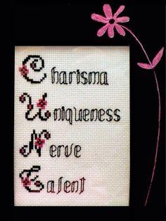 'Charisma, Uniqueness, Nerve & Talent', Yass Hunty, even Grandma agrees, Cross stitch of RuPaul Quote.