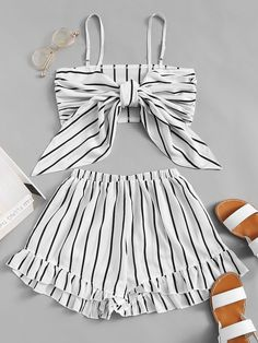 Knot Front Striped Cami With Shorts - Fashion Women Men Casual Classy Trends Summer Autumn Winter Spring Fall Outfit Monochromatic Cute Comfy Outfits, Teenage Outfits, Teen Fashion Outfits, Cute Casual Outfits, Cute Summer Outfits, Outfits For Teens, Stylish Outfits, Girl Fashion, Fashion Women