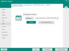 windows tweaker schedule shutdown