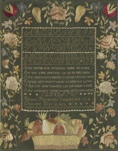 Textiles (Needlework) - Sampler - Search the Collection - Winterthur Museum Embroidery Sampler, Cross Stitch Embroidery, Textile Patterns, Textiles, Linen Stitch, Winterthur, Textile Fiber Art, Cross Stitch Samplers, Heirloom Sewing