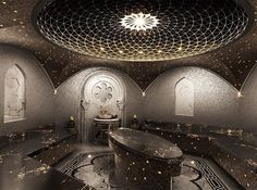 This incredible spa ceiling! Steal it for your bathroom! Hamam | design turkish bath by Nickolai Yegorov, via Behance