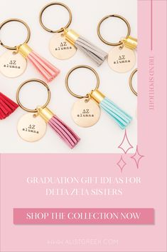 Celebrate your Delta Zeta Grad with these trendy custom keychains! Delta Zeta Grad Gift | DZ Sorority Grad Keychain | College Graduation Gift Idea | Grad Gift for Her | Grad Gift for Girlfriend | Grad Gift for Daughter | Grad Gifts for Best Friends | Best Grad Quotes | Graduation Tassel Keychains #HappyGraduation #SororityGrad Phi Sigma Sigma, Alpha Xi Delta, Kappa Delta, Alpha Chi Omega, Tri Delta, Phi Mu, Sorority Graduation, Graduation Tassel, College Sorority
