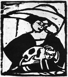 woman with cat | woodcut | Erich Heckel