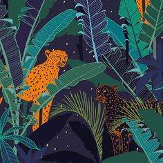 Print - - Cheetah Midnight Jungle by Madeline English - Midnight Jungle - Full graphic hand drawn design- All elements on separate layers- RGB colour- Detailed illustration of animals- Tropical plants & leaves- Women's, Men's, Interiors & Kid's Art And Illustration, Pattern Illustration, Jungle Pattern, Adobe Illustrator, Mural Floral, Zebra Wallpaper, Jungle Art, Jungle Drawing, Jungle Animals