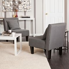 Holly & Martin Purban Cool Gray Slipper Chairs (Set of 2) $393.99 at Overstock.com