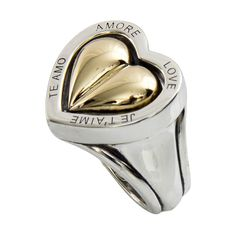 Barry Kieselstein Cord Spinning Heart Love Ring Gold and Sterling Silver   From a unique collection of vintage fashion rings at https://www.1stdibs.com/jewelry/rings/fashion-rings/
