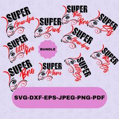 Super Family Svg Designs Bundle for Cricut and Silhouette, Super Family T-shirt Transfer Svg Cut File, Instant Download T Shirt Transfers, Silhouette Designer Edition, Svg Files For Cricut, Cutting Files, Design Bundles, Messages, Canvas, Digital, Etsy
