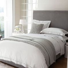 I love these pale grey neutrals for bedrooms and like the texture of the chunky cushions and throw