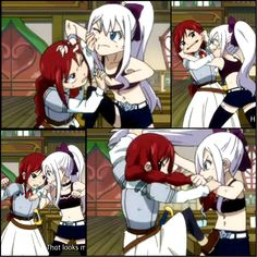 I love little Erza and Mirajane's brawls. xD