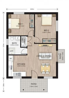 This 2 bedroom with built-in wardrobes. 2bhk House Plan, Model House Plan, Small House Floor Plans, House Layout Plans, Cabin Floor Plans, House Layouts, 2 Bedroom Floor Plans, Two Bedroom House, Apartment Floor Plans