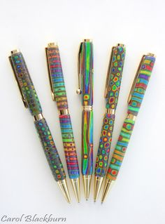 Twist pens in extruded polymer clay by Carol Blackburn.