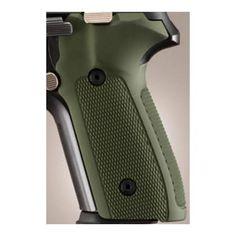 Sig P228-P229 Grips - Checkered Aluminum Matte Green Anodized