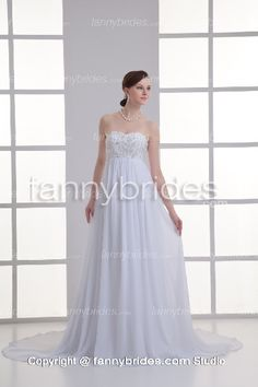 Sweetheart Chiffon Embroidery Maternity Wedding Gown - Fannybrides.com