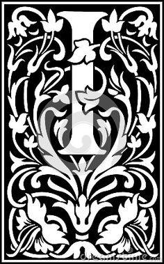 Flores letra decorativa I parte posterior y blanco