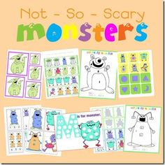 M is for not so scary Monsters free printable tot pack