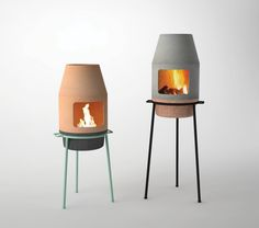 The portable fireplace is designed to bring people together in the same way as a traditional wood stove. Designed for an ethanol burner, wood can also be used.