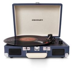 Crosley Radio 'Cruiser' Turntable (105 AUD) ❤ liked on Polyvore featuring home, home decor, fillers, music, decor, vintage, blue, vintage home decor, blue home decor and music home decor