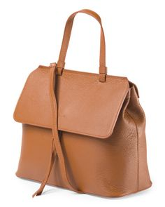 Made In Italy Leather Flap Satchel - Satchels - T.J.Maxx